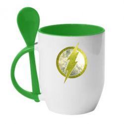 Кружка с керамической ложкой Flash Logo - FatLine