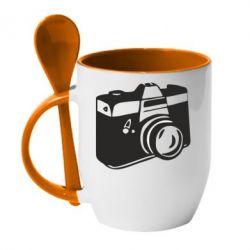 Кружка с керамической ложкой Фотоаппарат - FatLine