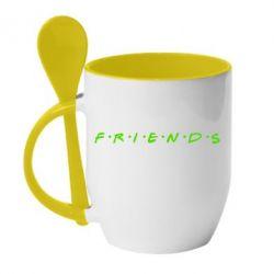 Кружка с керамической ложкой Friends (Друзья) - FatLine