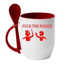 Кружка с керамической ложкой Fuck the Police - FatLine