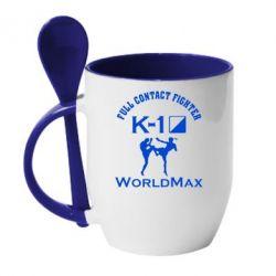 Кружка с керамической ложкой Full contact fighter K-1 Worldmax - FatLine