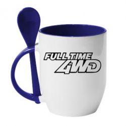 Кружка с керамической ложкой Full time 4wd - FatLine