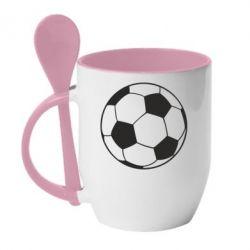 Кружка с керамической ложкой Футбольный мяч - FatLine