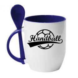 Кружка с керамической ложкой Гандбол Лого - FatLine