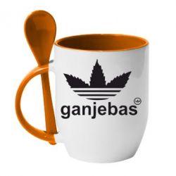 Кружка с керамической ложкой Ganjubas - FatLine