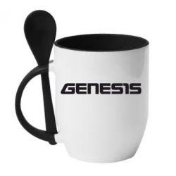 Кружка с керамической ложкой GENESIS - FatLine