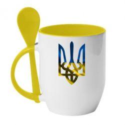 Кружка с керамической ложкой Герб на фоні прапора - FatLine