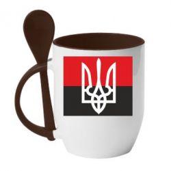 Кружка с керамической ложкой Герб на прапорі - FatLine