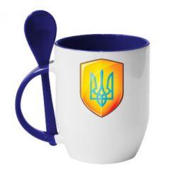 Кружка с керамической ложкой Герб на щиті - FatLine