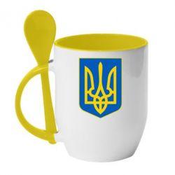 Кружка с керамической ложкой Герб неньки-України - FatLine