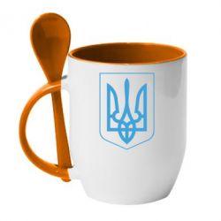 Кружка с керамической ложкой Герб України з рамкою - FatLine
