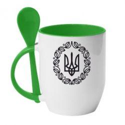 Кружка с керамической ложкой Герб Украины - FatLine