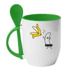 Кружка с керамической ложкой Голый банан - FatLine