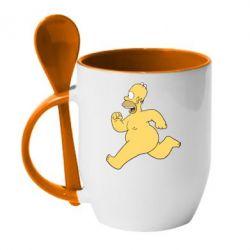 Кружка с керамической ложкой Голый Гомер Симпсон - FatLine