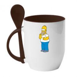 Кружка с керамической ложкой Гомер что-то затеял - FatLine
