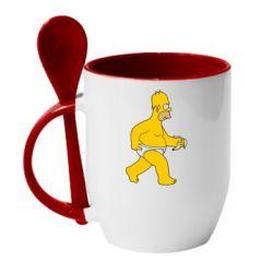 Кружка с керамической ложкой Гомер Симпсон в трусиках - FatLine