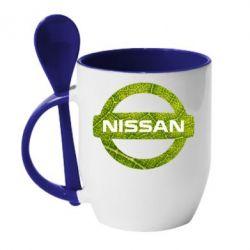 Кружка с керамической ложкой Green Line Nissan - FatLine