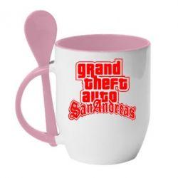 Кружка с керамической ложкой GTA San Andreas - FatLine
