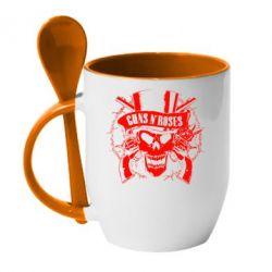 Кружка с керамической ложкой Guns n' Roses Logo - FatLine