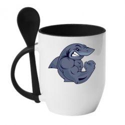 Кружка с керамической ложкой Gym Shark - FatLine