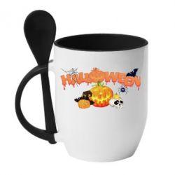 Кружка с керамической ложкой Halloween Logo - FatLine