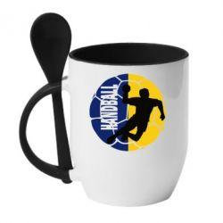 Кружка с керамической ложкой Handball Logo - FatLine