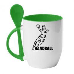 Кружка с керамической ложкой Handball - FatLine