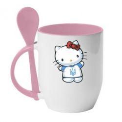 Кружка с керамической ложкой Hello Kitty UA - FatLine