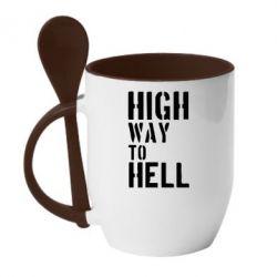 Кружка с керамической ложкой High way to hell - FatLine