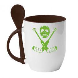 Кружка с керамической ложкой Хоккейная маска - FatLine
