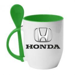 Кружка с керамической ложкой Honda 3D Logo - FatLine