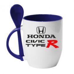 Кружка с керамической ложкой Honda Civic Type R - FatLine