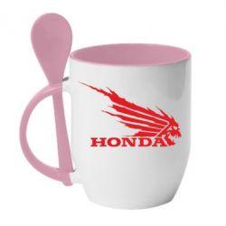Кружка с керамической ложкой Honda Skelet - FatLine