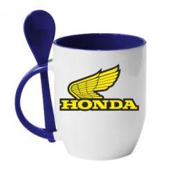 Кружка с керамической ложкой Honda Vintage Logo - FatLine