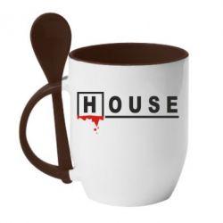 Кружка с керамической ложкой House - FatLine