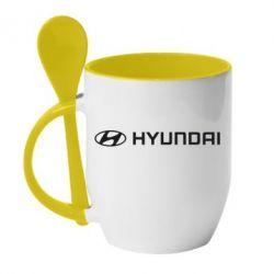 Кружка с керамической ложкой Hyundai 2 - FatLine
