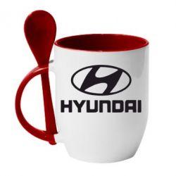 Кружка с керамической ложкой HYUNDAI - FatLine