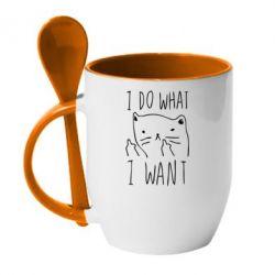 Кружка с керамической ложкой I do what i want - FatLine