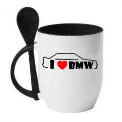 Кружка с керамической ложкой I love BMW - FatLine