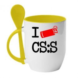 Кружка с керамической ложкой I love CS Source - FatLine