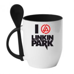 Кружка с керамической ложкой I love Linkin Park - FatLine