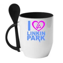Кружка с керамической ложкой I love LP - FatLine