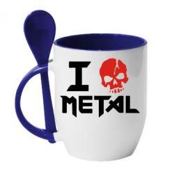 Кружка с керамической ложкой I love metal - FatLine