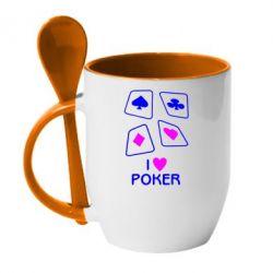 Кружка с керамической ложкой I love poker - FatLine