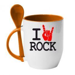 Кружка с керамической ложкой I love rock - FatLine