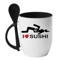 Кружка с керамической ложкой I love sushi - FatLine