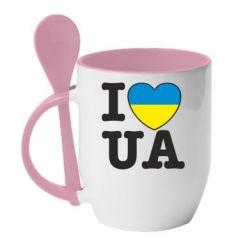Кружка с керамической ложкой I love UA - FatLine
