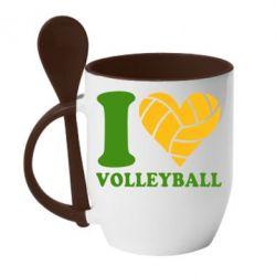 Кружка с керамической ложкой I love volleyball - FatLine