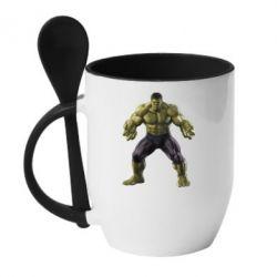 Кружка с керамической ложкой Incredible Hulk - FatLine