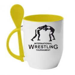 Кружка с керамической ложкой International Wrestling Tournament - FatLine
